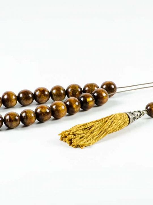Natural Gold Brown Coral Yusr Greek Komboloi Worry Beads Youssouri