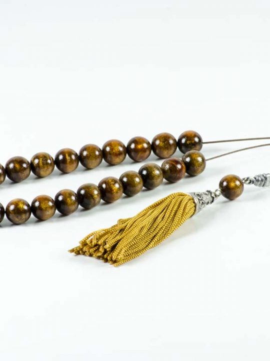 Natural Gold Brown Coral Youssouri Greek Komboloi Yusr Worry Beads