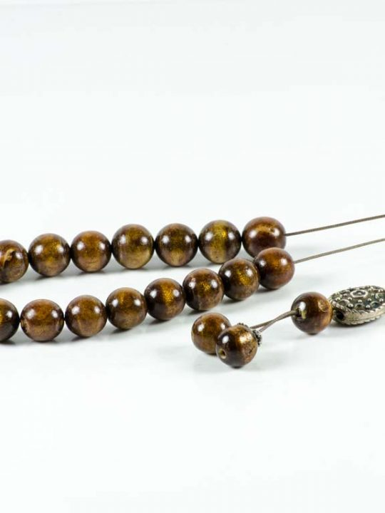 Natural Gold Brown Coral Youssouri Yusr Worry Beads Greek Komboloi