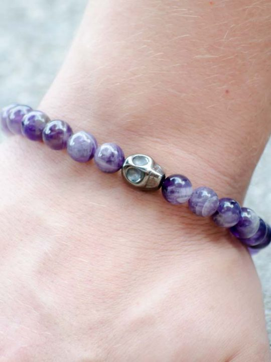 Natural Amethyst Gemstone Stretch Bracelet Unisex Skull Charm