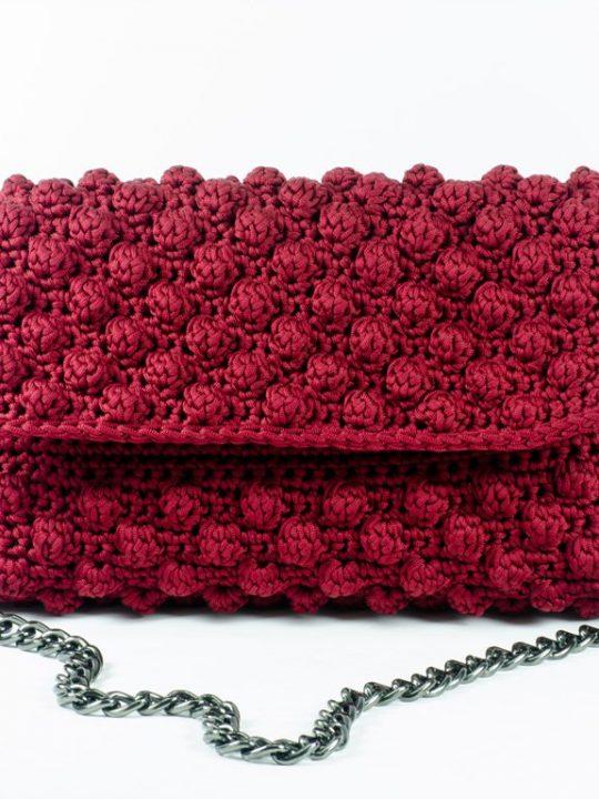 Evening Baguette Bag Eco Friendly Handmade Crochet Bordeaux