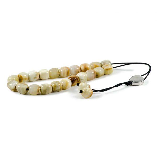 Barrel White Onyx Gemstone Greek Worry Beads Komboloi
