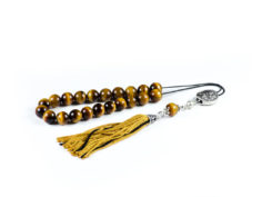 Tiger's Eye Gemstone Greek Worry Beads Komboloi Greek Meander