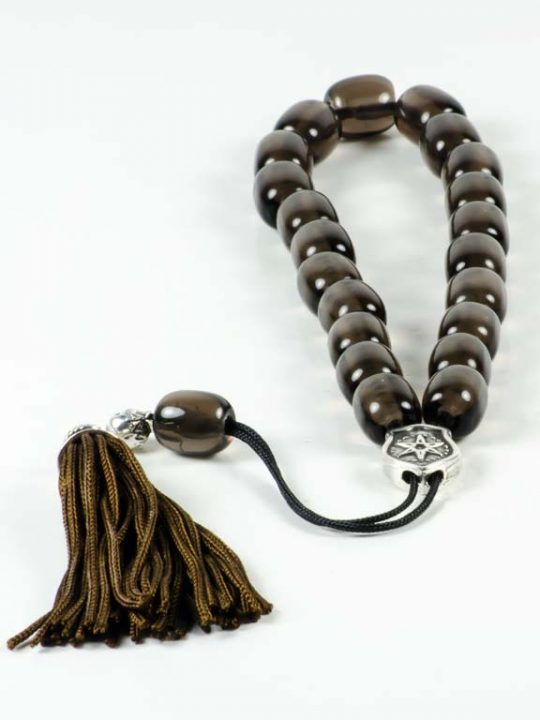 Transparent Obsidian Gemstone Greek Komboloi Worry Beads Tassel