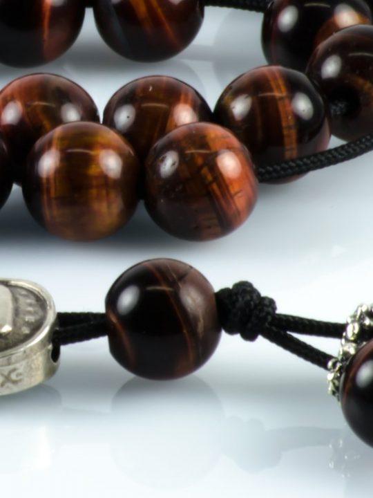 Red Tiger's Eye Cat's Eye Gemstone Greek Worry Beads Komboloi