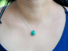 Faceted Emerald Gemstone Pendant Sterling Silver 925 Necklace