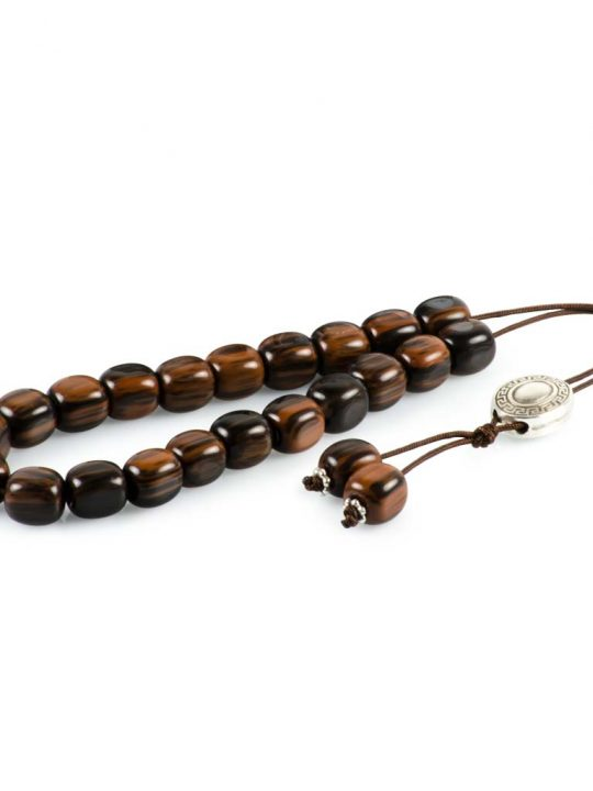 Brown Obsidian Greek Komboloi Worry Beads Meander Spacer
