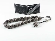 Gray Obsidian Gemstone Greek Komboloi Worry Beads Meander Spacer
