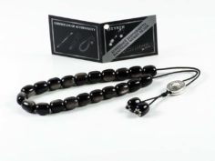 Dark Grey Obsidian Gem Greek Worry Beads Meander Spacer