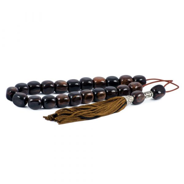 Brown Obsidian Greek Worry Beads Komboloi Meander Silver Spacer