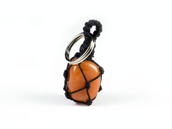 Tumbled Carnelian Gemstone Macrame Key Chain Unixes