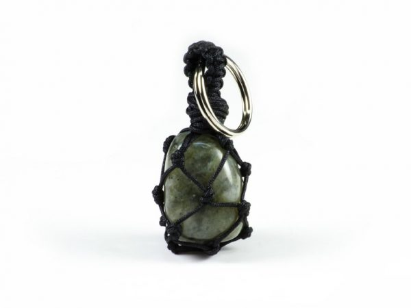 Tumbled Labradorite Gemstone Macrame Key Chain Unixes