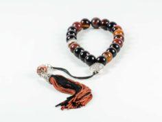 Carnelian Agate Gemstone Worry Beads Greek Komboloi Sun of Vergina