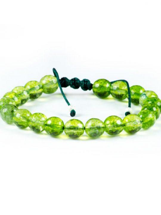 Loose Faceted Green Peridot Gemstone Adjustable Handmade Bracelet