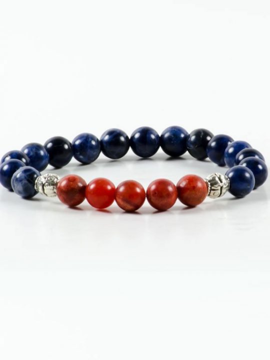 Red Coral Sodalite Gemstone Stretch Handmade Unisex Bracelet