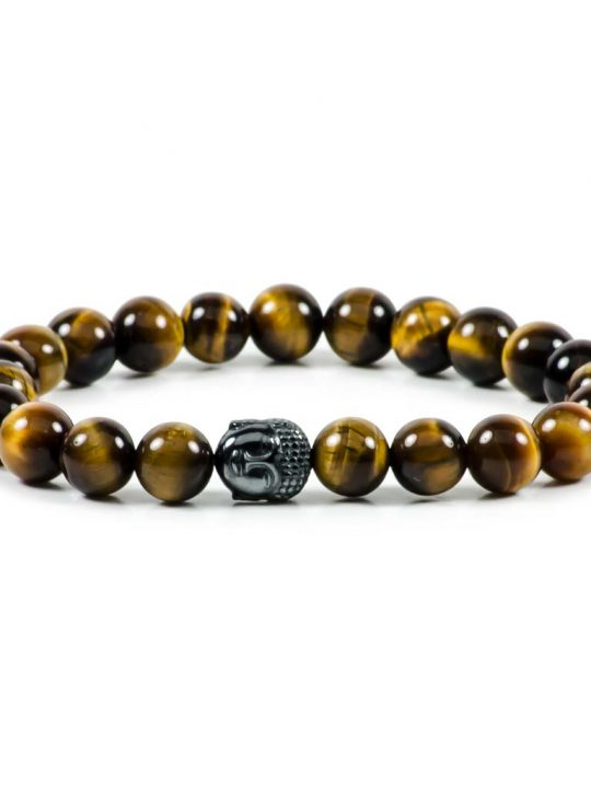 Tiger's Eye  Hematite Buddha Gemstone Stretch Bracelet Unisex