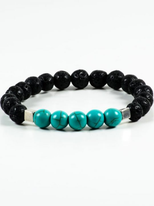 Lava Howlite Gemstone Stretch Bracelet Unisex Jewelry