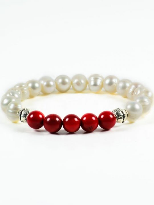 Red Coral Freshwater Pearls Gemstone Stretch Handmade Bracelet