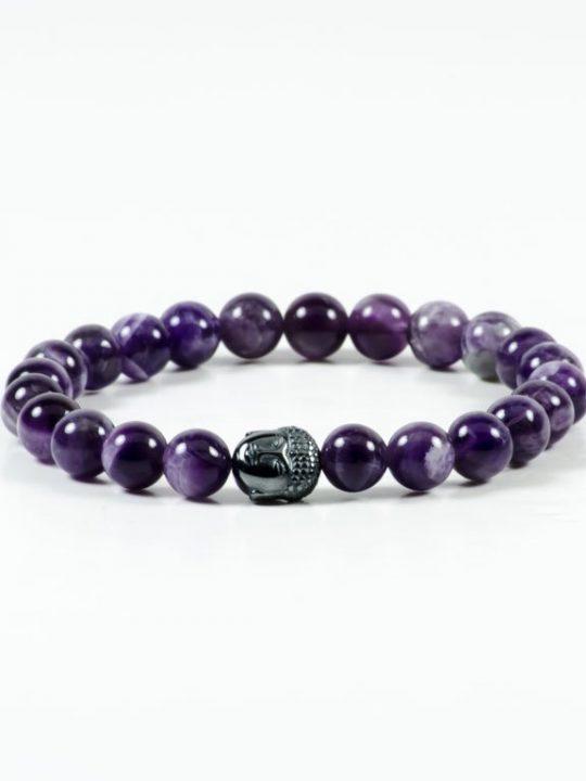 Amethyst Hematite Buddha Gemstone Stretch Bracelet Unisex