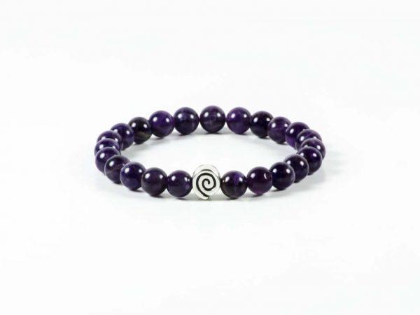 Amethyst Gemstone Handmade Stretch Bracelet Unisex Greek Spiral