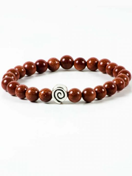 Goldstone Gemstone Handmade Bracelet Unisex Hematite Greek Spiral