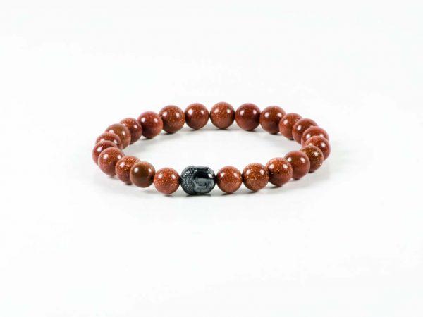 Goldstone Gemstone Handmade Bracelet Unisex Hematite Buddha