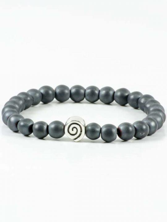 Matte Hematite Gemstone Handmade Stretch Bracelet Unisex Greek Spiral Symbol