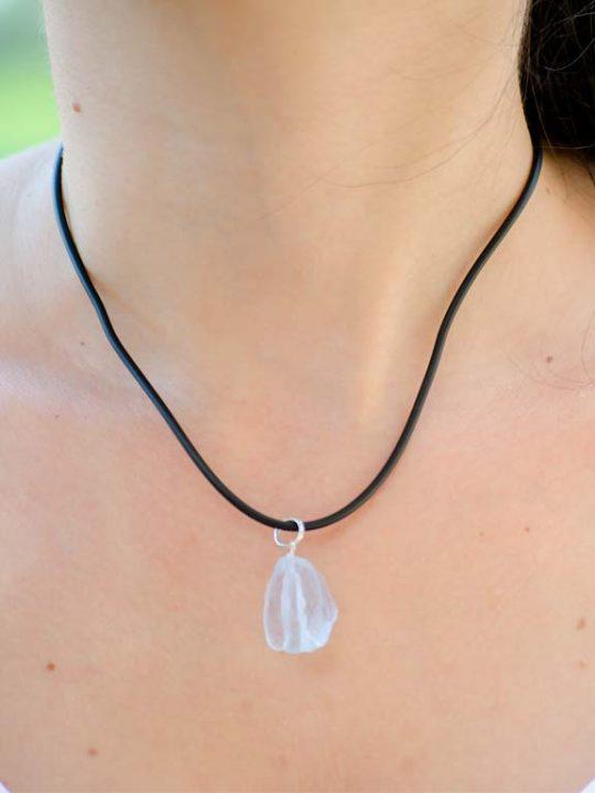 Raw Eye-Clean Aquamarine Gemstone Pendant Sterling Silver