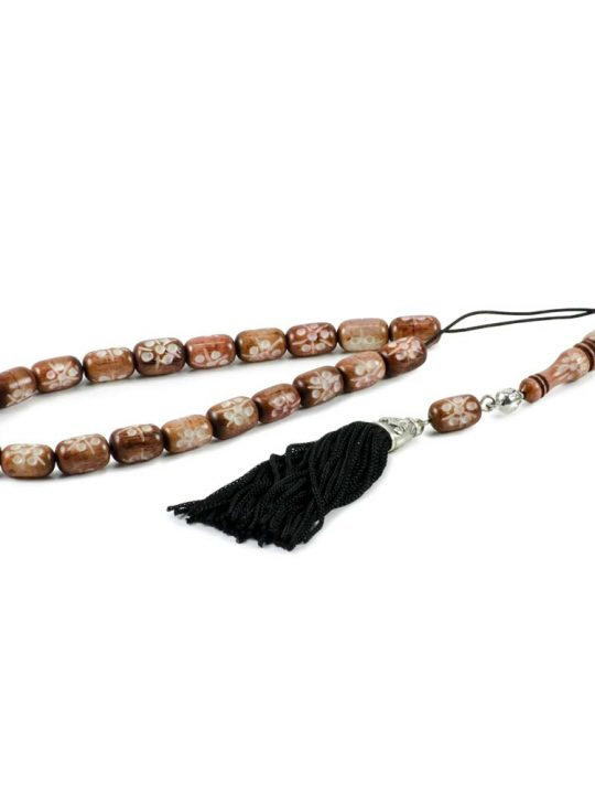 Hand Carved Brownish Camel Bone Greek Komboloi Worry Beads