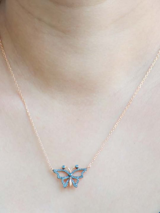 Butterfly Gold Plated Sterling Silver 925 Necklace Zircon Embedded
