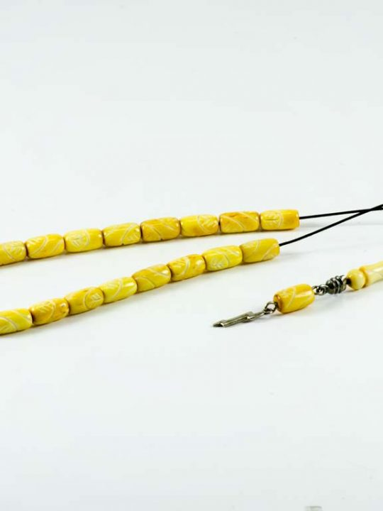 Hand Carved Yellow Camel Bone Greek Komboloi Worry Beads