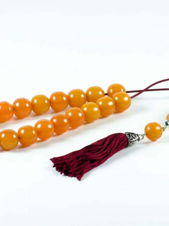 Vintage Orange Mastic Amber Worry Beads Greek Komboloi