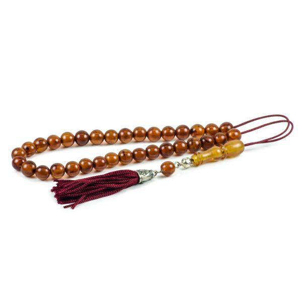 Brown Natural Baltic Amber Stone Tasbih Worry Beads Tesbih Succinite