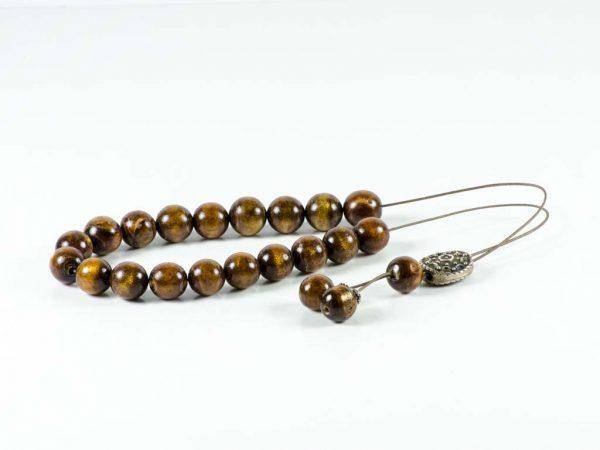 Natural Gold Brown Coral Youssouri Yusr Worry Beads Greek Komboloi