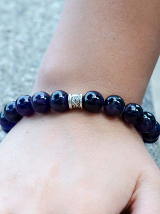 Natural Amethyst Gemstone Handmade Unisex Stretch Bracelet