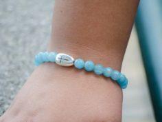 Faceted Aquamarine Gemstone Handmade Stretch Bracelet