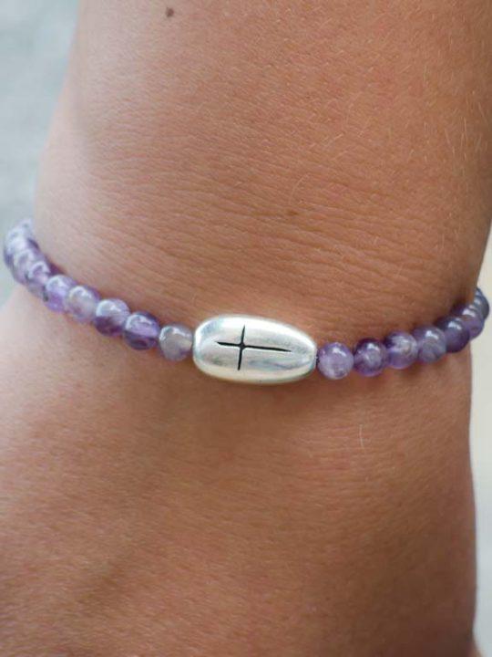 Natural Amethyst Gemstone Handmade Stretch Bracelet Cross Charm