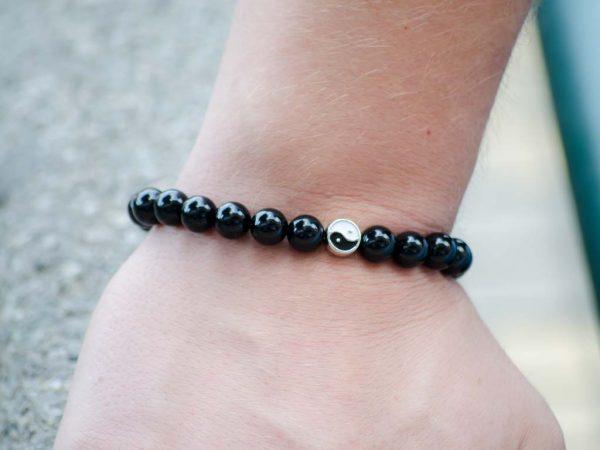 Black Onyx Gemstone Handmade Stretch Bracelet Unisex Yin Yang