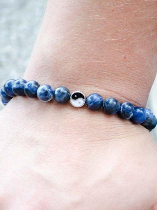 Sodalite Gemstone Stretch Handmade Unisex Bracelet Yin Yang Charm