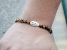 Tigers Eye Gemstone Unisex Handmade Stretch Bracelet Cross Charm