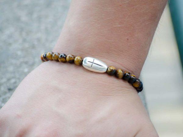 Tigers Eye Gemstone Unisex Handmade Stretch Bracelet Cross Charm