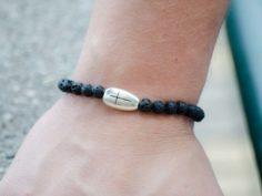 Black Lava Gemstone Unisex Handmade Bracelet Cross Charm