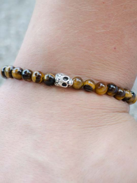 Tigers Eye Gemstone Unisex Handmade Stretch Bracelet Skull Charm