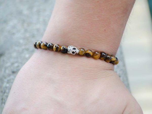 Tigers Eye Gemstone Unisex Handmade Stretch Bracelet Skull Charm