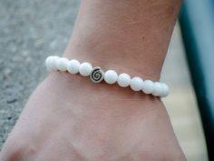 White Onyx Gemstone Handmade Stretch Bracelet Unisex Greek Spiral