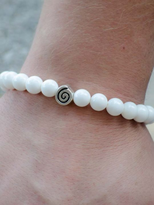 White Onyx Gemstone Handmade Stretch Bracelet Unisex Greek Spiral