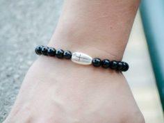 Black Onyx Gemstone Handmade Stretch Bracelet Unisex Cross Charm