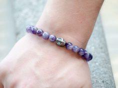 Natural Amethyst Gemstone Stretch Bracelet Unisex Skull Charm