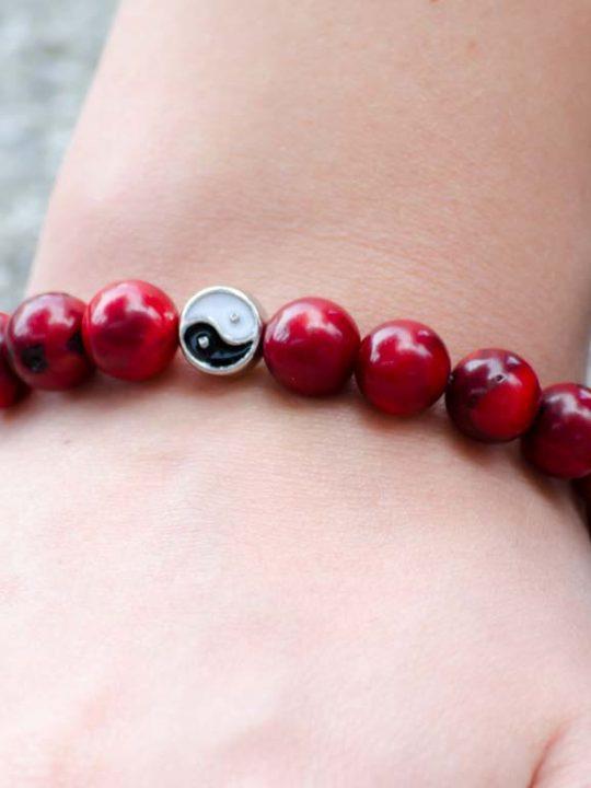 Red Coral Gemstone Stretch Bracelet Unisex Yin Yang Charm