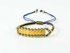 Golden Silver Hematite Gemstone Handmade Macrame Double Bracelet Shamballa